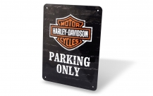 Parking only sheet metal sign
