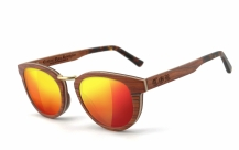 COR003 wood sunglasses - laser red